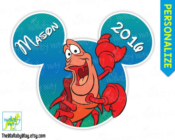Sebastian Crab From Little Mermaid Mickey Head Disney Printable Iron On Transfer Or Use As Clip Art