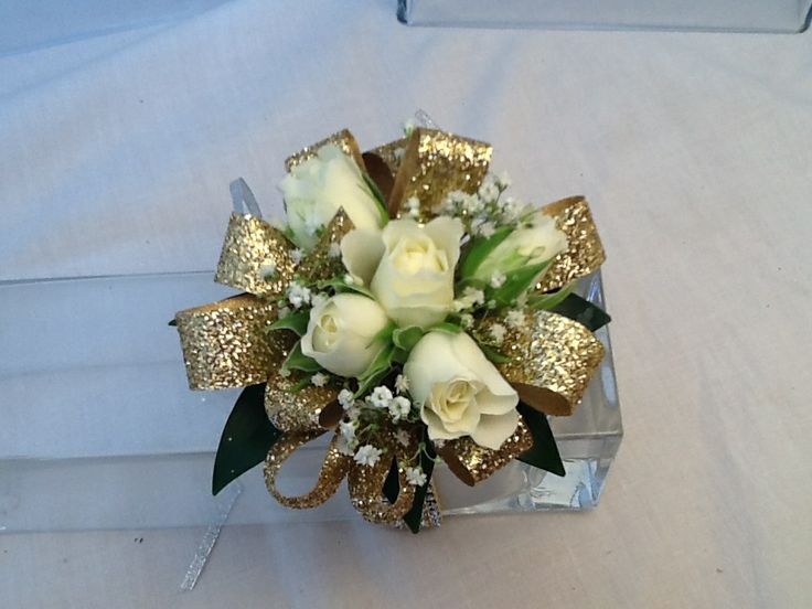White and gold corsage!