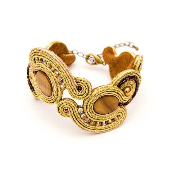 Soutache gold bracelet / retro & vintage by MANUfakturamaanuela, $62.00