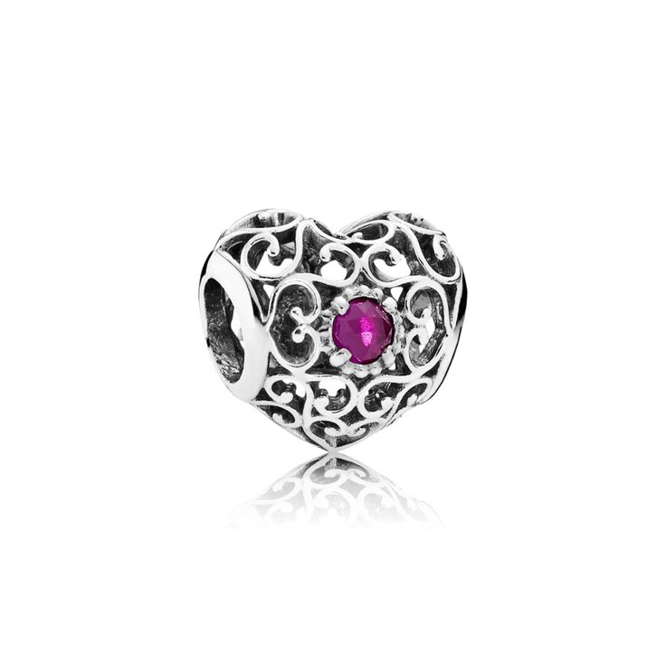 July Signature Heart Birthstone Charm - Pandora UK | PANDORA eSTO