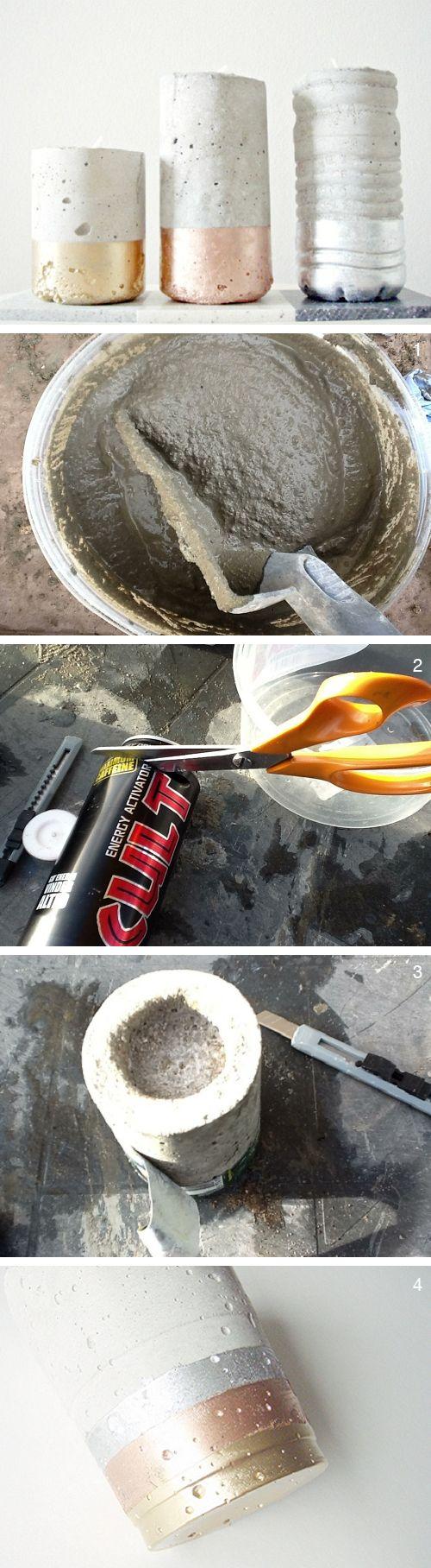 Voici comment réaliser simplement des bougeoirs en #ciment ! #candlestick #concrete #diy
