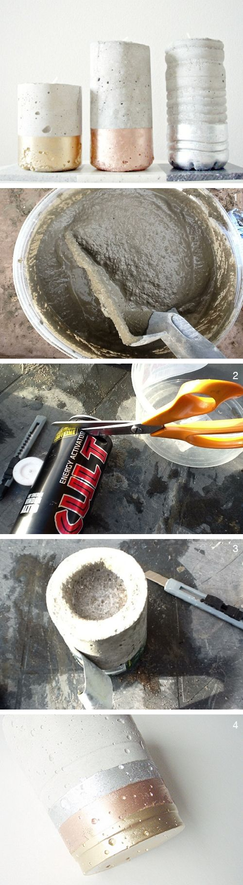 DIY Anleitung: Kerzenständer aus Beton gießen // diy tutorial: how to make concrete candle holders via DaWanda.com