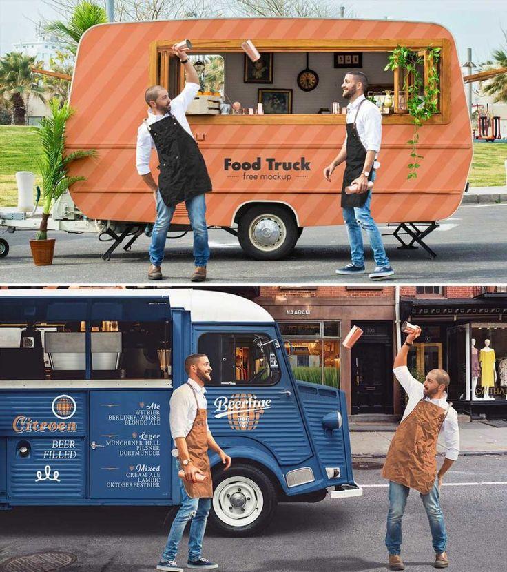 2 Food Truck Mockup Psd Company Meals Mockup Food Truck
