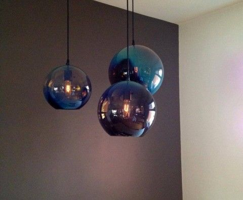 GLOBE, black/iris - blown glass lighting, Tsunami Glassworks #lighting #blownglass http://tsunamiglassworks.com/Hand-Blown-Glass-Art/lighting.html