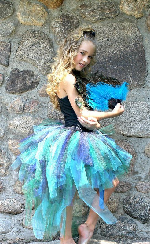 "Peacock Bustle Style Tulle Tutu with ""Tail"" for Girls"