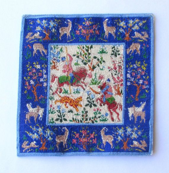 TO ORDER TO MAKE  Dollhouse Miniature Area Rug Hunting Scene in 1/12 scale  Reproduction of an antique rug in miniature is stitched on 40 count silk