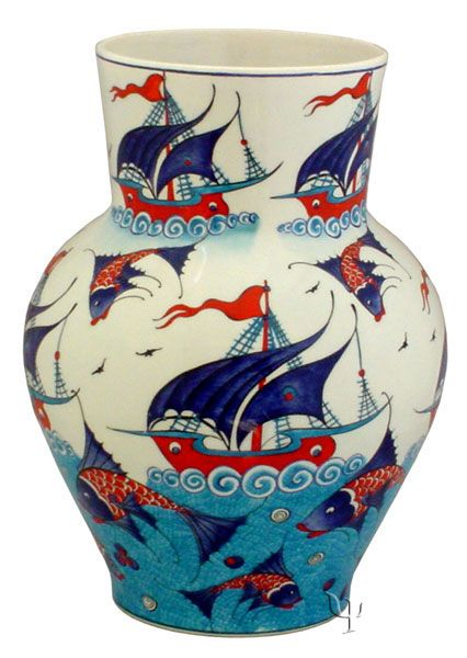 Iznik Design Ceramic Vase - Osmanli Kalyon yurdan.com--Orhan GENEL