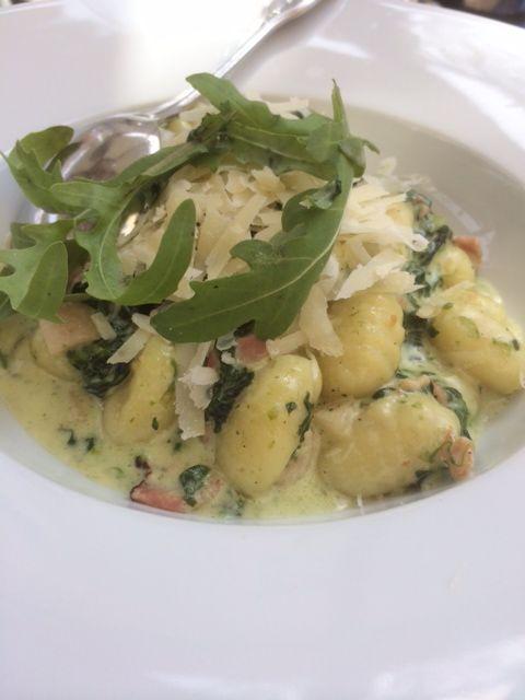Homemade potatoe gnocchi with fresh spinach and salmon......sooooo good