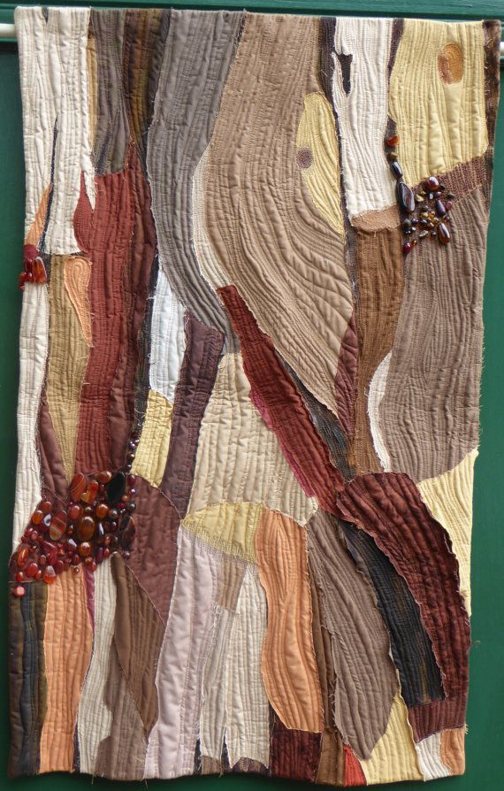 Bark Art quilt wall hanging by HandMadeQuiltsbyJane on Etsy
