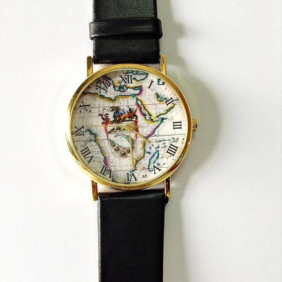 Map Watch Vintage Style Leather Watch Women Watches by FreeForme, $3.99