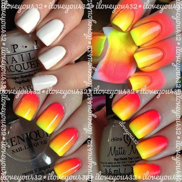 How To Do Ombre Nail Polish: Fire Ombre Nails
