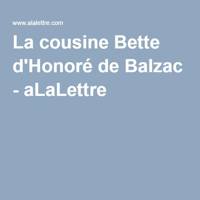 La cousine Bette d'Honoré de Balzac - aLaLettre