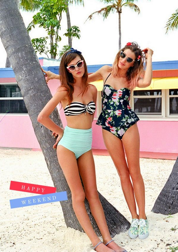 Retro swimsuits.