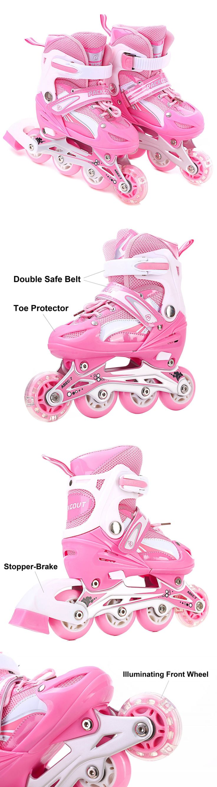 Youth 71156: Girls Inline Skates Adjustable Rollerblades For Kids Girls With Illuminating Whe BUY IT NOW ONLY: $37.5
