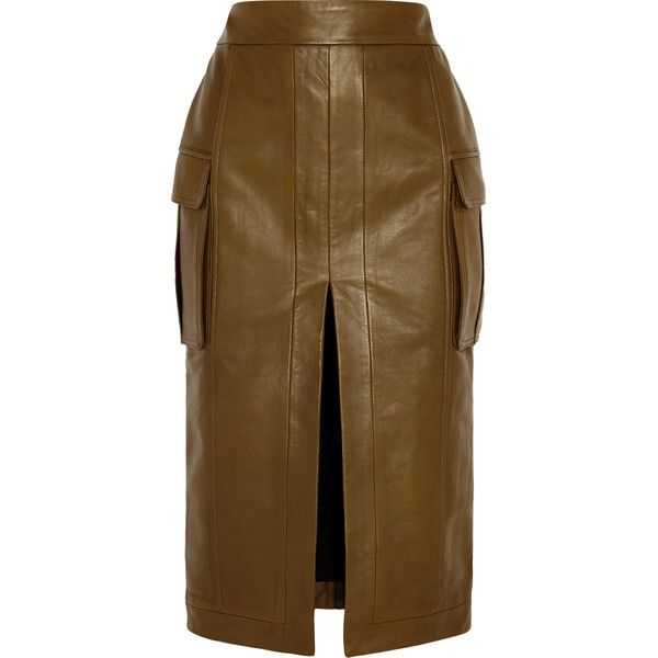Balmain Leather pencil skirt (410 BHD) ❤ liked on Polyvore featuring skirts, army green, olive green skirt, below knee pencil skirt, stretchy pencil skirt, stretch skirt and pencil skirt