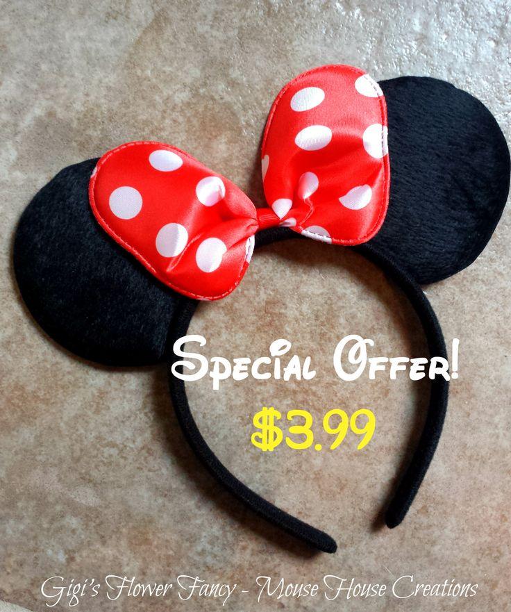 Minnie Mouse Ears   Minnie Mouse Party Ears   Disney Costume   Disney Ears   Kids Ears   Adult Ears   Ready to Ship by GigisFlowerFancy on Etsy