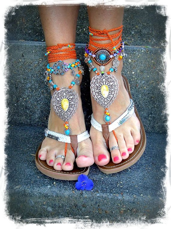 INDIE Paisley BAREFOOT sandals ORANGE Toe ankle Wrap by GPyoga, $86.00