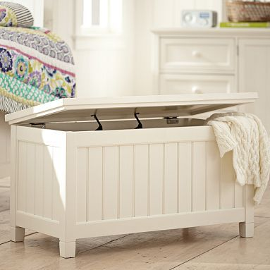 "What if you put a ""mattress"" type thing over the top and put baskets inside for clothes. To put under window. Beadboard End Of Bed Trunk #potterybarnteen"