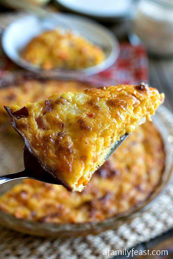 Crustless Ham and Cheddar Quiche - A simple and delicious breakfast (or lunch) that bakes up in minutes!