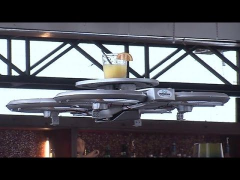 Drone waiters unveiled in Singapore - YouTube