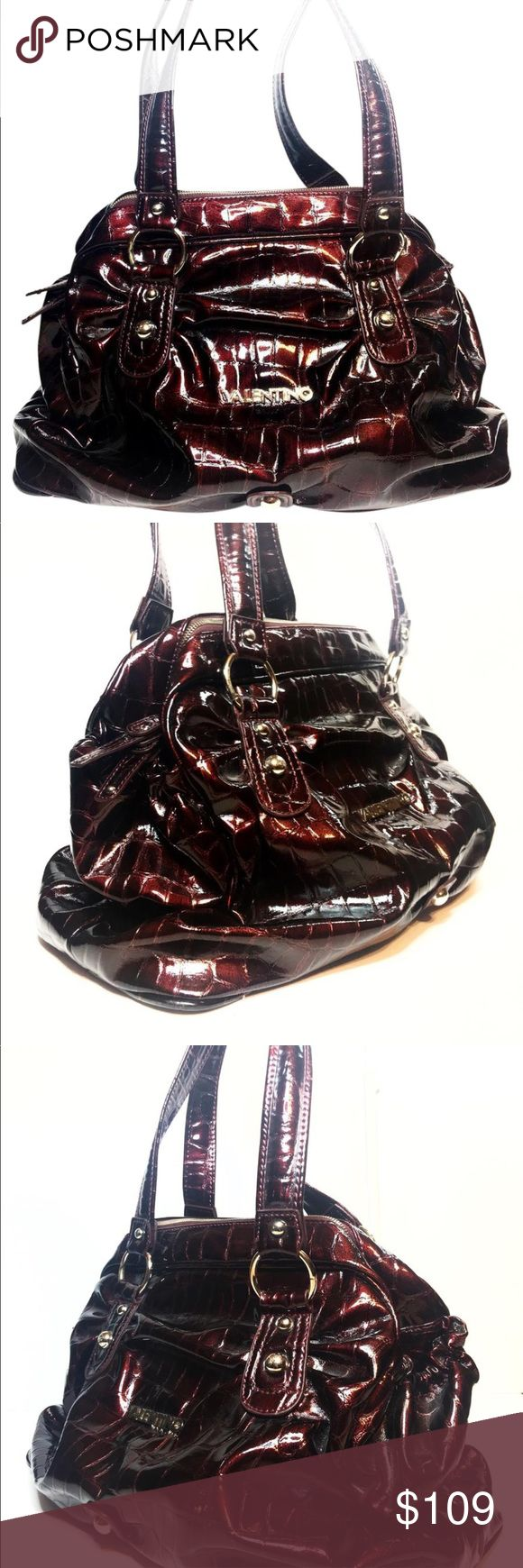 Patent maroon croc embossed Mario Valentino bag This lovely Mario Valentino shoulder bag is in excellent condition and has been professionally cleaned and detailed in preparation of this listing Mario Valentino Bags