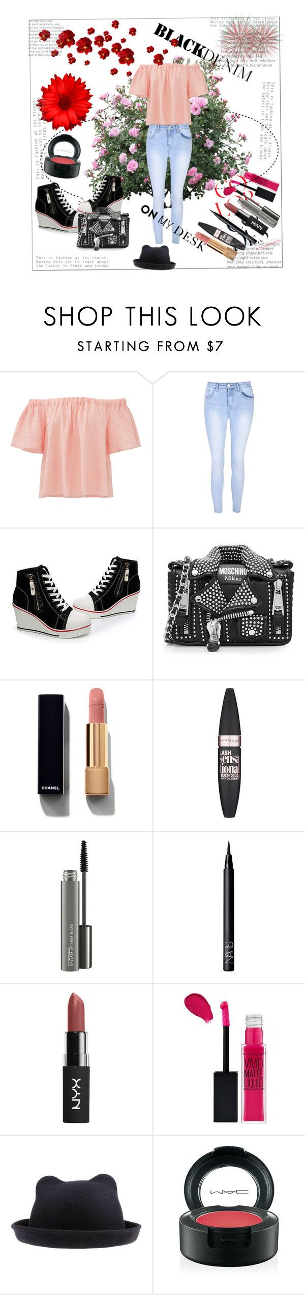 """Весенний стиль"" by simonyulya ❤ liked on Polyvore featuring Rebecca Taylor, Glamorous, Moschino, Chanel, Maybelline, MAC Cosmetics and NARS Cosmetics"