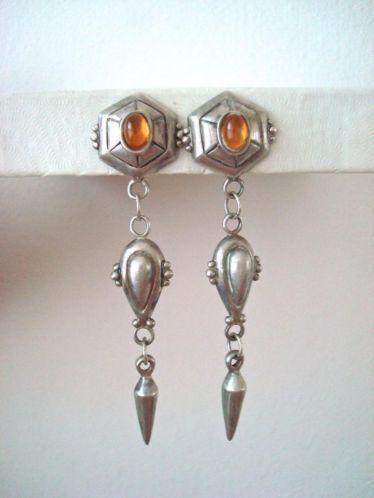 6,8 lange ART DECO zilver zilveren oorbellen amber Taxco - Antieke sieraden vrg 80,-