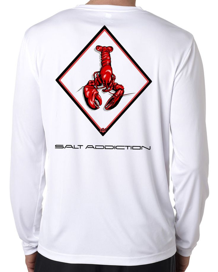 Salt Addiction life microfiber lobster fishing long sleeve t shirt 50+ uv  #SaltAddiction #GraphicTee