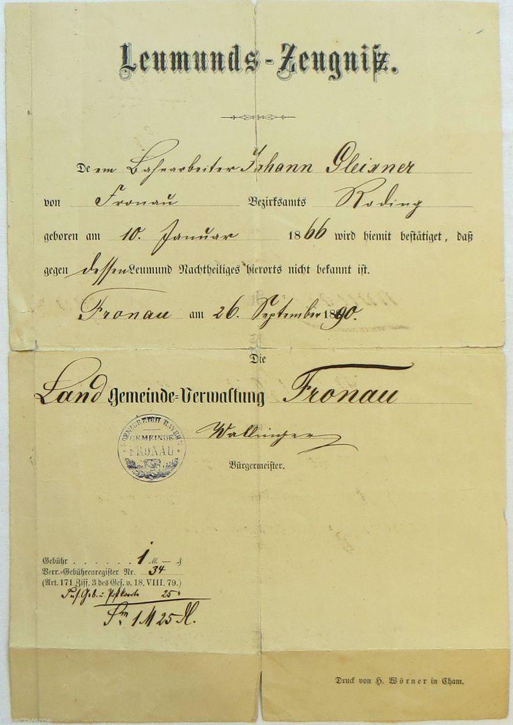 Leumunds - Zeugnis Roding / Fronau 1890