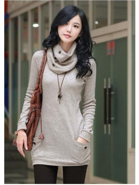 Trendy Long Sleeve Sweater With Scarf