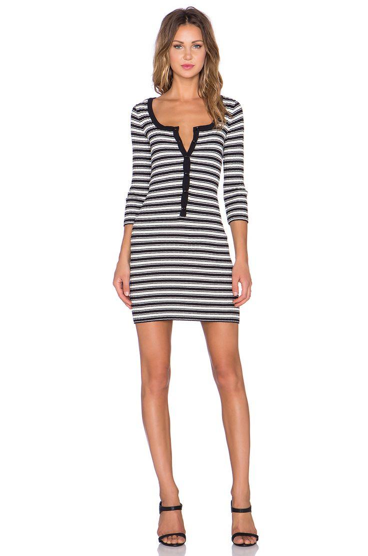 For Love & Lemons Ziggy Button Up Dress in Black & White