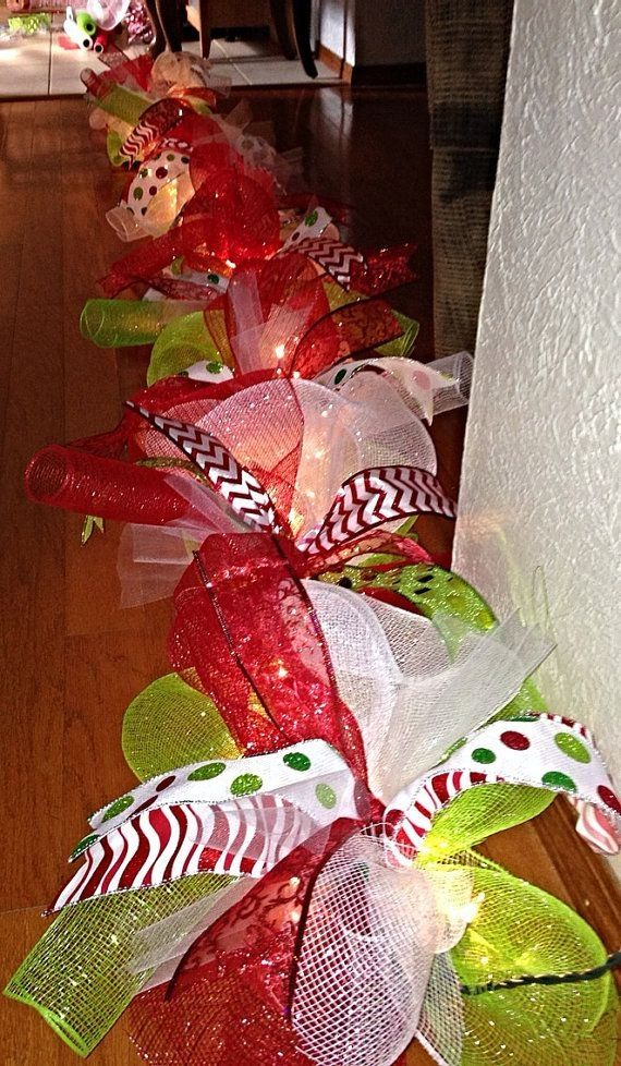 Deco Mesh PreLiteChristmas Garland by LadyBugsLilyPadsOKC on Etsy, $40.00 by lena