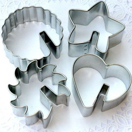Coffee or tea is always better with cookies, and these metal cutters create cookies that make a neat presentation when slipped onto the rim of your cups. 2 tall, one each of heart, star, sun and peony. Designed for china cups, not wider-lip ceramic...