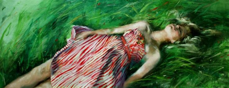 Susana Ragel 'Gentle Breeze' Oil On Panel 40x120cm