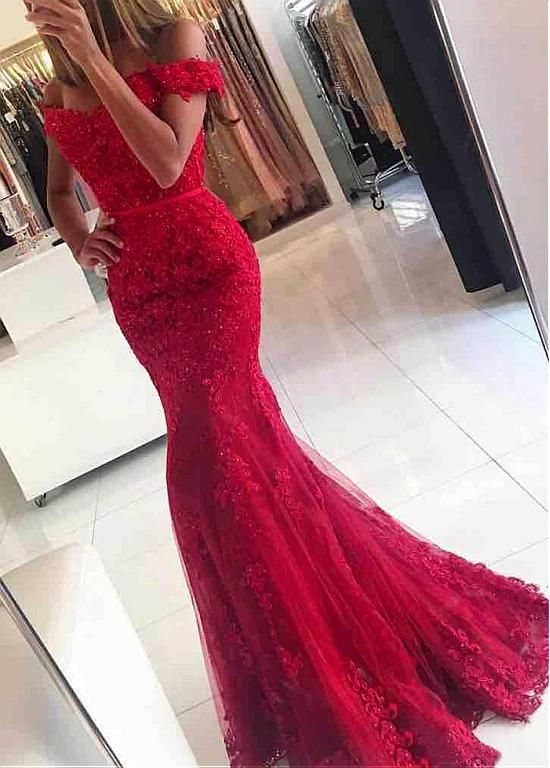 Buy discount Junoesque Tulle Off-the-shoulder Neckline Mermaid Formal Dresses With Beaded Lace Appliques at Dressilyme.com