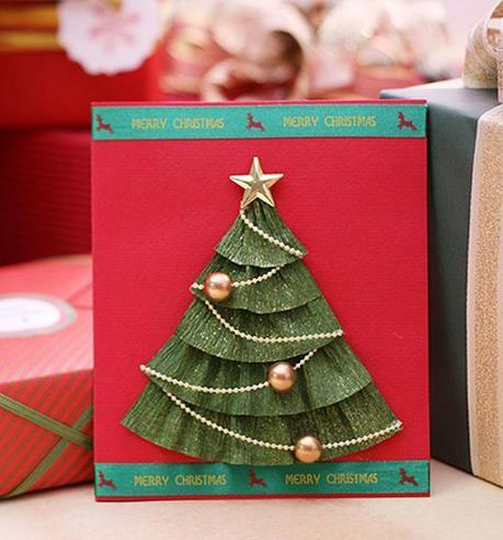 Довольно просто крепированная бумага Рождественская елка Рождественская открытка производство учебник