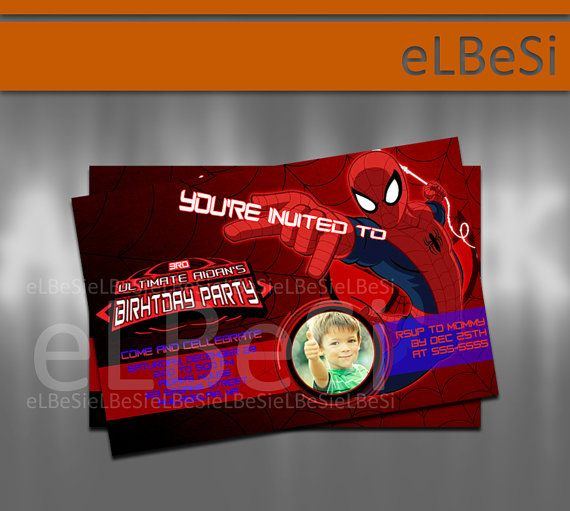 Ultimate Spiderman Birthday Invitation - Invitation Card