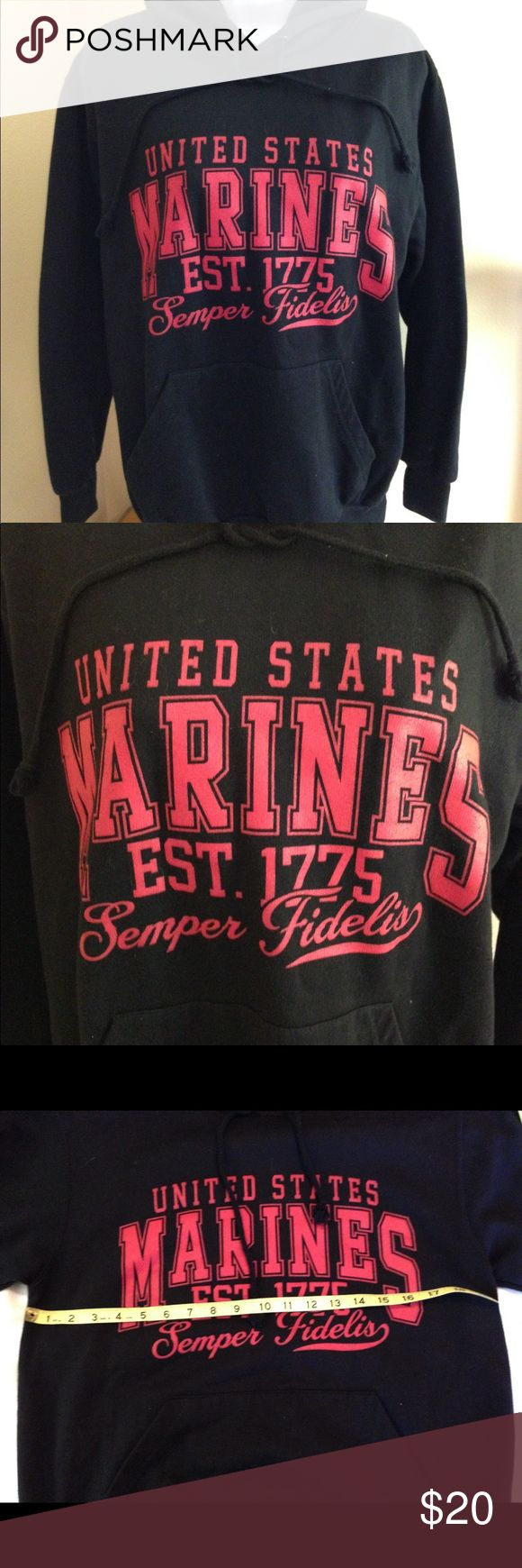 """United States Marines Hoodie Sz S United States Marines Hoodie Sz M label in great preowned condition. Armpit to armpit 19"""", looks like a youth size. Will fit ladies small. See pics. mv sport Tops Sweatshirts & Hoodies"""