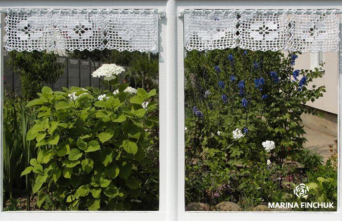 Шторки-zazdrostki «Фиалки», crochet-curtains