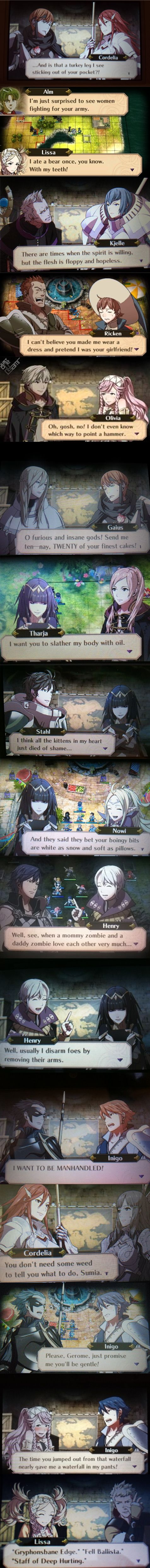 Fire Emblem: Awakening. Just some of the many, various, funny conversations that are in this wonderful game!