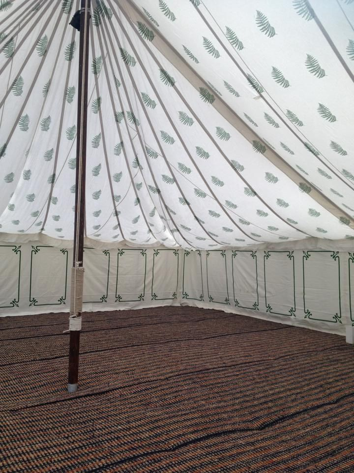 Fern Roof with Green Border Wall Lining within one of our LPM Bohemia 40ft Traditional Pole Tents