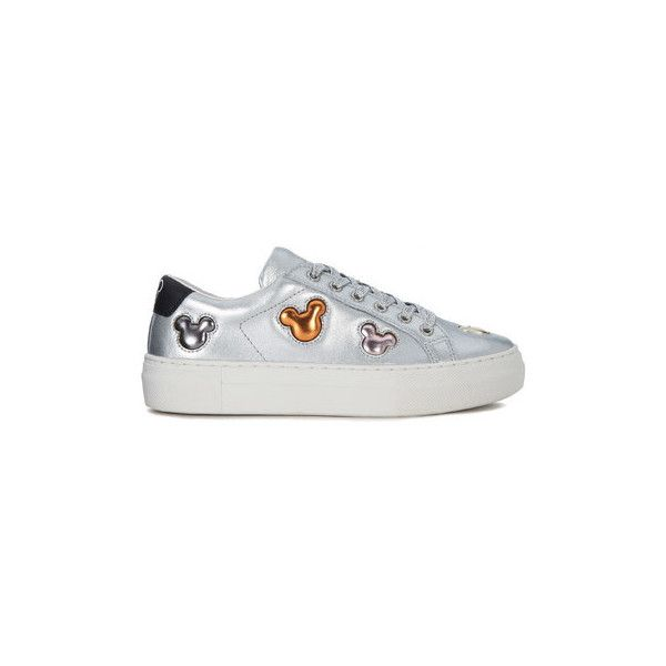 Moa - Master Of Arts Sneaker MoA Mickey Mouse in pelle argento e... ($230) ❤ liked on Polyvore featuring shoes, sneakers, silver, trainers, women, mickey mouse shoes, multicolor shoes, silver trainers, multi colored sneakers and colorful sneakers