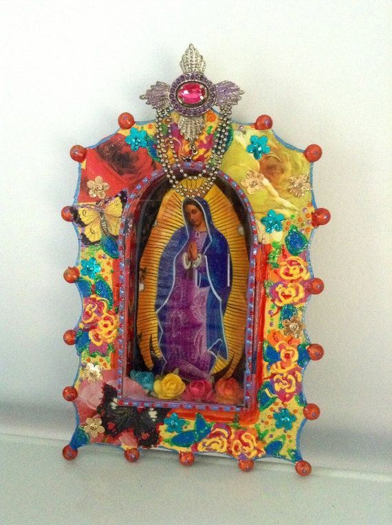 Virgin Mary Mexican tin nicho / shadow box shrine/ Our lady of Guadalupe / vibrant multicolored rainbow / Day of the dead gift