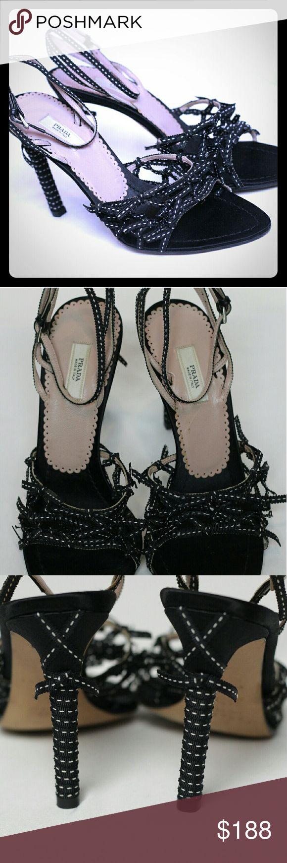 "PRADA 🖤 Black & white ribbons, sandals, perfect condition. 4"" heel. 🖤 Inv #1027 Prada Shoes Sandals"