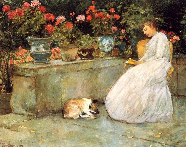 Reading: 1888 by Childe Hassam (Private Collection - sold at auction as per Artnet.com) - Impressionism