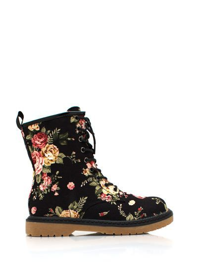 Floral Combat Boots♥
