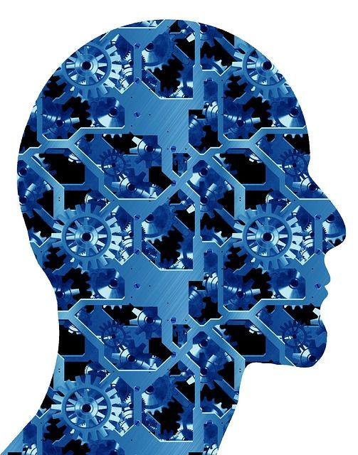 Head, Face, Silhouette, Clock, Time, Gear, Gears, Blue