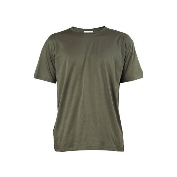 Valentino Olive Green T-Shirt ($395) ❤ liked on Polyvore featuring men's fashion, men's clothing, men's shirts, men's t-shirts, green, mens green shirt, mens cotton shirts, mens cotton t shirts and mens olive shirt