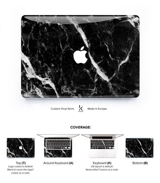 MacBook decal skin cover with white-veined black marble. Made to protect and look fabulous. Easy to apply with no bubbles and goo-free removal. Made in Europe.