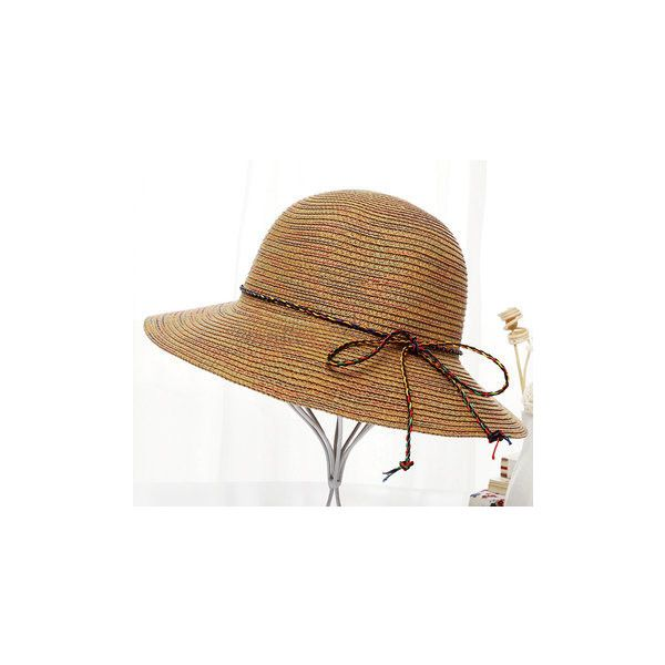 Summer Multicolour Elegant Sunscreen Straw Hats Casual Travel Visor... ($8.07) ❤ liked on Polyvore featuring accessories, hats, light coffee, visor hats, straw sun visor, straw sun hat, straw bucket hat and sun hat